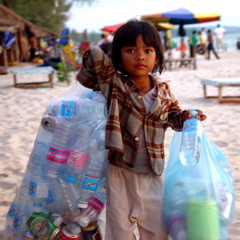 Child on Cambodian beach