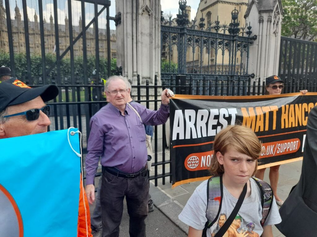 Rev Ross Rennie outside the Houses of Parliament